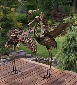 Large Bronze Patina Flying Crane Pair Sculpture Heron Bird Yard Art Metal Statue