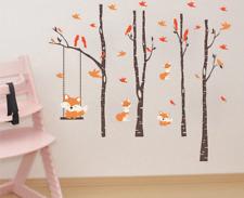 Orange Fox Birds Wall Stickers Fox Swinging Trees Birch Wall Decals Home Decor
