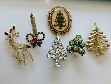 Lot 6 Vintage  Christmas Tree Pins Brooches Rhinestones ljm reindeer candle