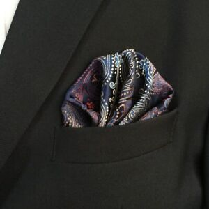 SHLAX&WING Silk Multicolored Paisley Matching Pocket Square 12.6 inches Large