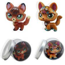 2pcs #807 #2341 Littlest Pet Shop LPS Brown Red Sparkle Fox Green Eyes Dog Toy