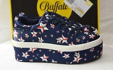 BUFFALO Plateau Sneaker dunkelblau mit Sternenprint  Gr. 38 -Neu