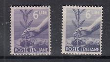 ITALIA VARIETA' 1946 DEMOCRATICA LIRE 6 DUE PEZZI CON COLORE DIVERSI NUOVI