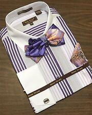 Men's Henri Picard French Cuff Dress Shirt Purple BOWTIE Hanky Set FC137B
