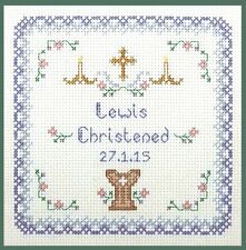 Christening Sampler in Blues - complete cross stitch kit on 14 aida