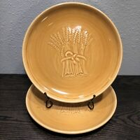 """2 Vintage Franciscan Pottery Wheat Harvest Brown 10 1/2"""" Dinner Plates 1950's"""