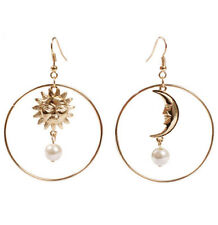 1pair sun and moon pendant earrings,gold color,cute ear rings