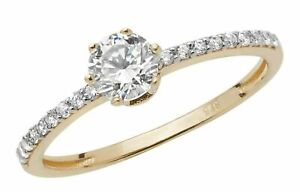 9ct Gold Ring 0.4ct Solitaire Engagement size P UK Hallmarked Yellow Gold
