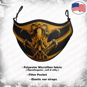 Scorpion 3D face mask-MortalK,Ninja,Gamer,fight-Kids & Adults-Reusable& Washable