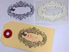 Handmade By, Butterfly Clear Oval Stamp with Scroll Frame to Self Personalise