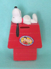 Vintage Snoopy on Doghouse Chex Party Mix Hard Plastic Bank