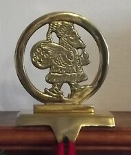Holiday Fireplace Mantel Stocking Holder Solid Brass -Santa in Circle
