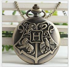 Fashion Vintage Harry Potter Pocket Watch Necklace Hogwarts School Of Witch