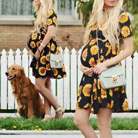 2019 Summer Womens Casual Sunflower Short sleeve Pregnant Maternity Mini Dress