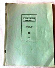 Vintage Booklet EARLY VIRGINIA IMMIGRANTS Greer book  genealogy