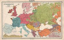 1931 MAPA ~ EUROPA ETNOGRÁFICO ~ INGLÉS FRANCÉS ESCANDINAVO RUSOS GRIEGOS etc
