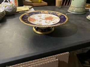 Rare William A Adderley Porcelain Cake Stand Cobalt Blue Encrusted Gold Poppies