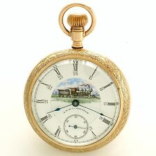 Rare Full Color Dominion Railway Train Dial and Fully Signed Movt Pocket Watch