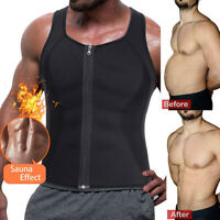 US Men's Sweat Vest Body Shaper Zip Slimming Sauna Tank Top Neoprene Compression