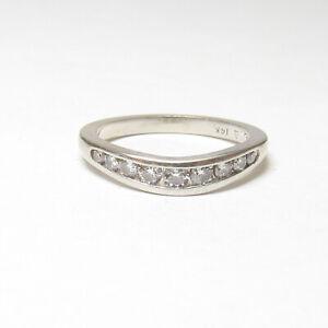 Estate 14K White Gold Nine Round Brilliant Cut Diamond Band Style Ring 0.39 Cts