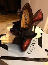 Lanvin Derby Stiletto Prune Paten Leather Oxford heels Shoes,Boots Sz37-US7-6,5