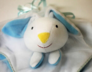 NEW Blue Baby Bunny Cuddle Blankie Blanket Soft Toy Comforter 36cm x 36cm