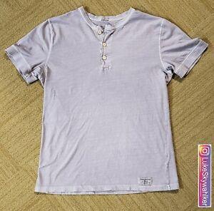 Abercrombie & Fitch Men's Garment Dyed Purple Size Medium Short Sleeve Henley