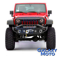 Stubby Rock Crawler Front Bumper+LED Light Bar Mount for 07-18 Jeep Wrangler JK