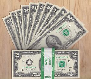 Lot of TEN (10) 2013 CRISP $2 TWO DOLLAR BILLS - SF - CONSECUTIVE  Uncirculated