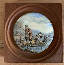 Framed Victorian Prattware Pot Lid Fishing Scene