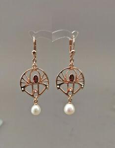 9906049 925er Silber vergoldet Jugendstil Ohrringe mit Granat Süßwasserperlen