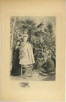 ANTIQUE VICTORIAN PRETTY GIRL GARDEN PALMS TREES BOTANICAL PLANTS REMARQUE PRINT