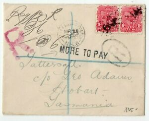 NEW SOUTH WALES 1902 'MORE TO PAY' COVER to TASMANIA MANY DATE-STAMPS