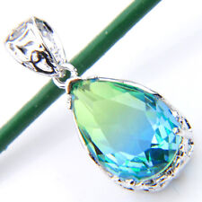 Multi Bi-Colored Tourmaline Gemstone Silver Plated Necklace Pendant