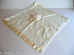 Blankets and Beyond Cream White Plush Bear Lovey Nunu Security Satin Bow