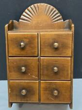 Vintage Wood 6 Drawer Kitchen SPICE CABINET Wall Mount Farmhouse