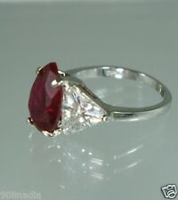 VINTAGE SILVER PLATED RING SZ 9 CRYSTAL/RHINESTONE TEAR DROP RUBY RED SOLITAIRE