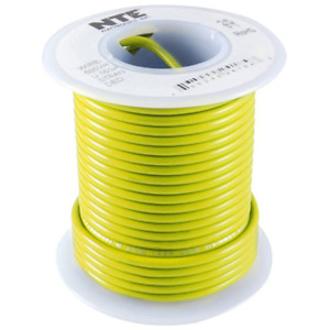 NTE Electronics WH22-04-500 HOOK UP WIRE 300V STRANDED 22 GAUGE YELLOW 500'