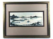 Vintage Pen and Wash Boats in Harbor Sailboat Seascape Watercolor Painting A/S