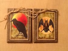 5 WOOD Halloween Ornaments,Halloween Hang Tags,GiftTags  HANDCRAFTED SET00H