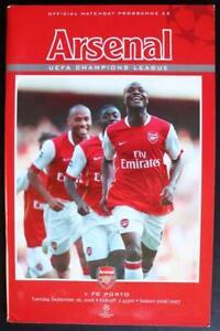 Arsenal FC V FC Porto MINT Programme UEFA Champions League 26-09-06