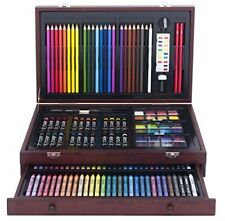 New 142- Piece Wooden Case Art Set Coloring Drawing Craft Colored Pencils