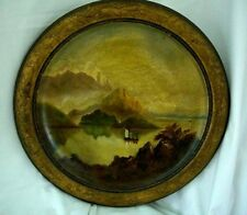 Vintage Wooden Hanging Plaque Hand Painted Oils Lake & Mountain Scene 34 cms Dia