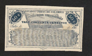 50 CENTAVOS CERTIFIED VALUE ENVELOPE LABEL SPECIMEN FROM COLOMBIA 186...
