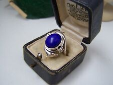RARE SOLID STERLING SILVER LAPIS LAZULI DOLPHIN LOCKET PILL POISON RING SIZE N 6