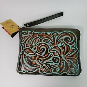 Patricia Nash Tooled CASSINI Leather Zip Wristlet Clutch Turquoise/Brown MSR $79