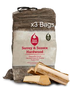 Kiln Dried Hardwood Logs - 3 net bags.  High Heat, Long Burn, Ready to Burn
