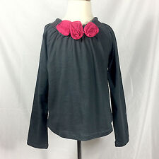 NWT Onekid Girls' Size 8 Rosette Top - Dark Grey with Roses
