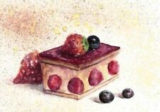 ACEO cheese cake painting strawberry sweets still life watercolour art card