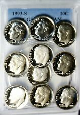 PCGS PR69 DEEP CAMEO +9 Other PROOF Roosevelt Dime =10 Coin PQ LOT 1969 & up  NR